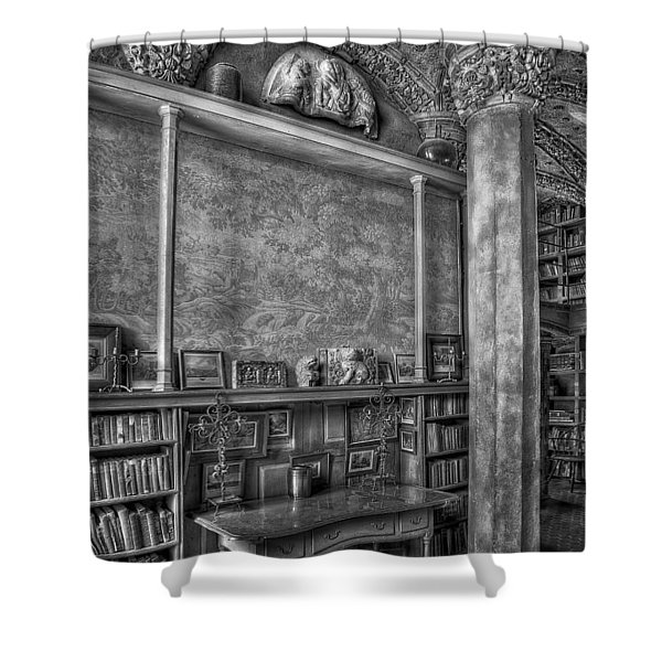Fonthill Castle Library Shower Curtain by Susan Candelario