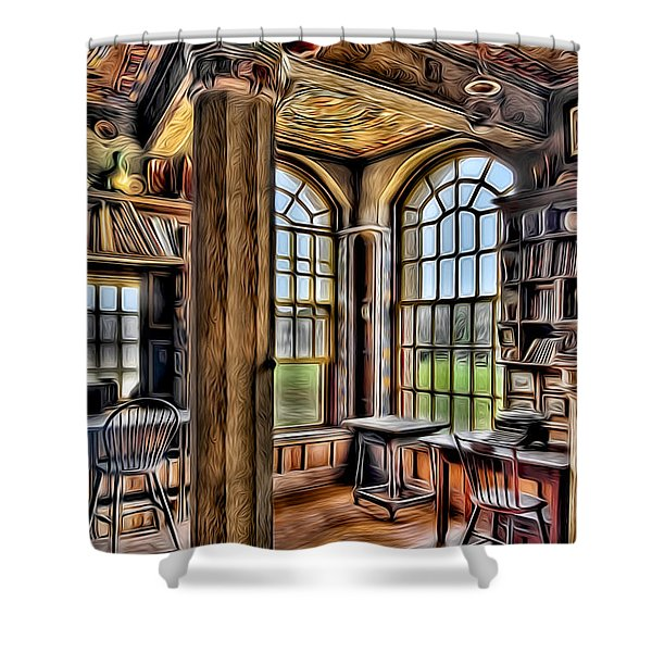 Fonthill Castle Office Shower Curtain by Susan Candelario