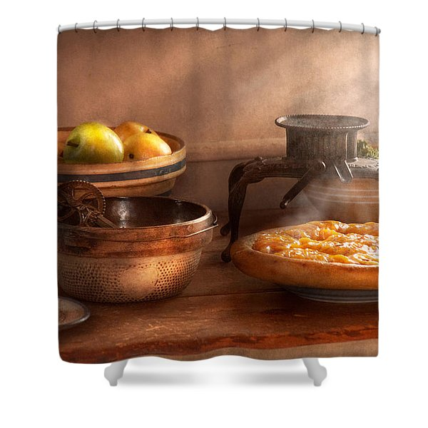 Food - Pie - Mama's peach pie Shower Curtain by Mike Savad