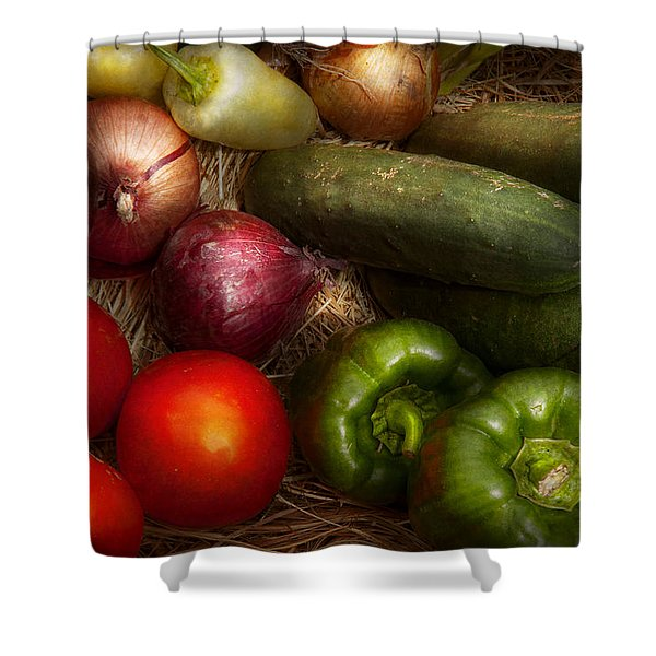 Food - Vegetables - Onions Tomatoes Peppers and Cucumbers Shower Curtain by Mike Savad