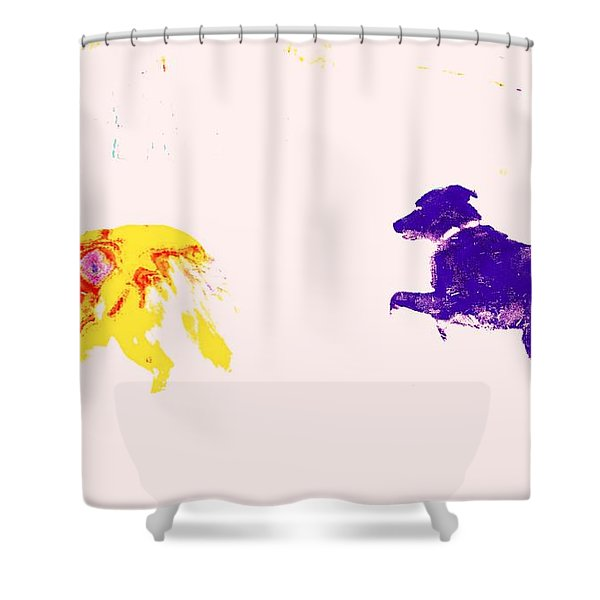 fooling around Shower Curtain by Hilde Widerberg