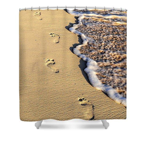 Footprints on beach Shower Curtain by Elena Elisseeva