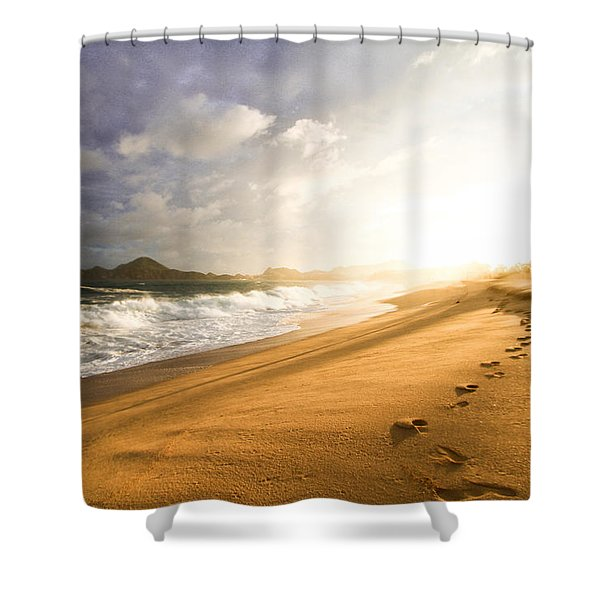 Footsteps In The Sand Shower Curtain by Eti Reid