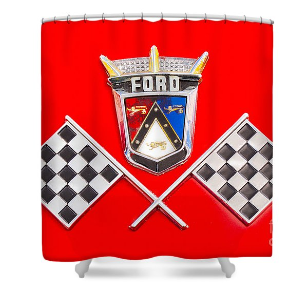 Ford Emblem Shower Curtain by Jerry Fornarotto