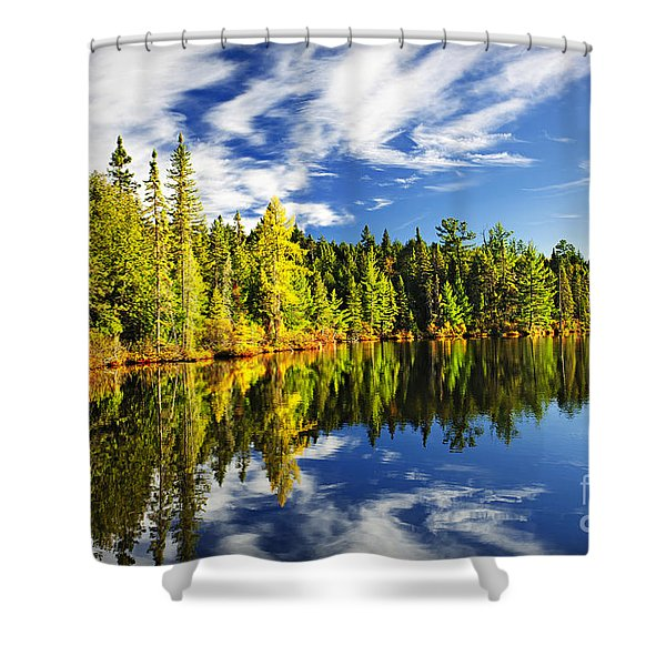 Forest reflecting in lake Shower Curtain by Elena Elisseeva