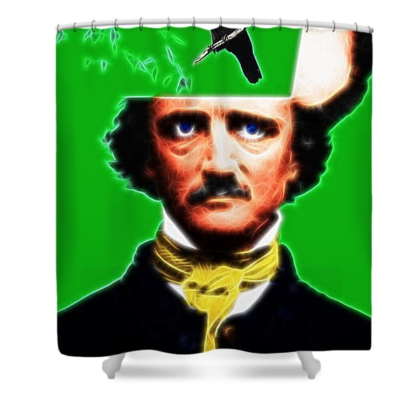 Forevermore - Edgar Allan Poe - Green Shower Curtain by Wingsdomain Art and Photography