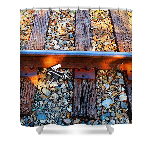 Forgotten - Abandoned Shoe On RailRoad Tracks Shower Curtain by Sharon Cummings