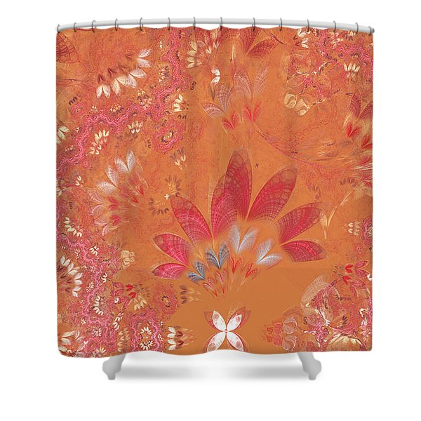 Fractal - Abstract - Japanese motif Shower Curtain by Mike Savad