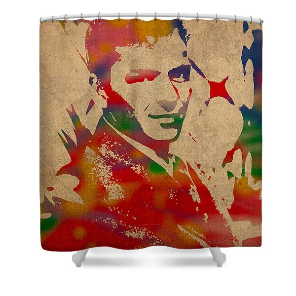 Frank Sinatra Watercolor Portrait On Worn Distressed Canvas Shower Curtain by Design Turnpike
