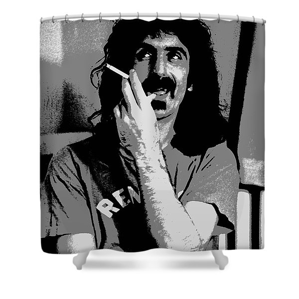 Frank Zappa - Chalk and Charcoal Shower Curtain by Joann Vitali