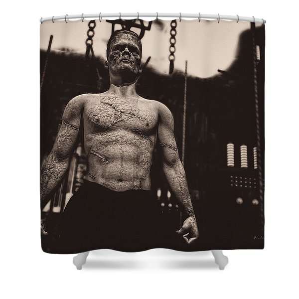 Frankenstein's Science Shower Curtain by Bob Orsillo