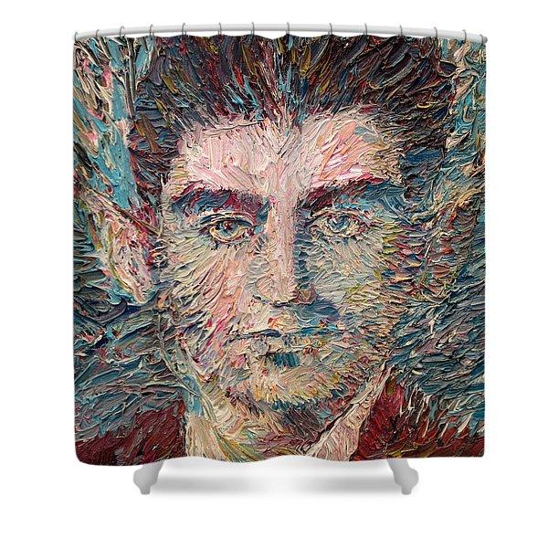 Franz Kafka Oil Portrait Shower Curtain by Fabrizio Cassetta
