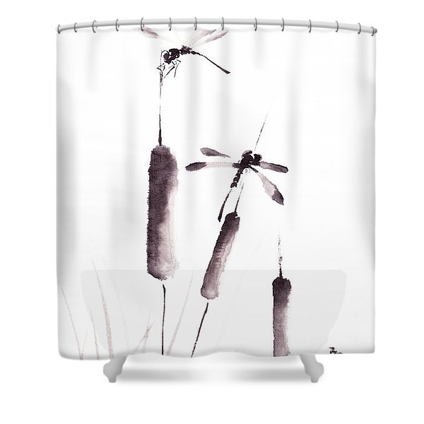 Free As The Dragonflies Shower Curtain by Oiyee  At Oystudio