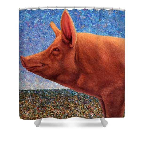 Free Range Pig Shower Curtain by James W Johnson