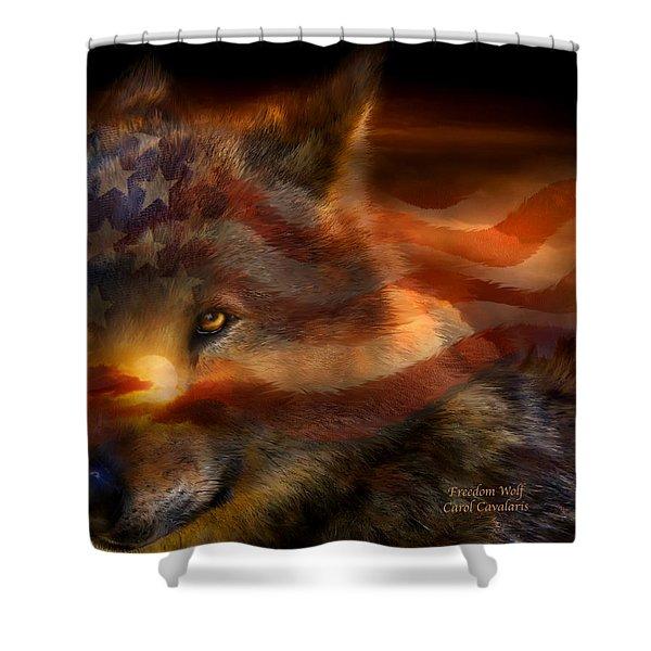 Freedom Wolf Shower Curtain by Carol Cavalaris