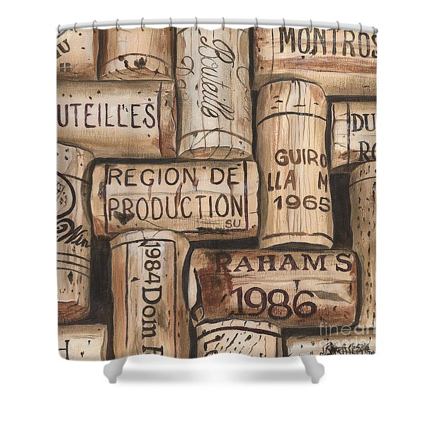 French Corks Shower Curtain by Debbie DeWitt