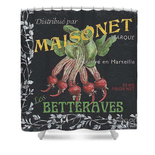 French Veggie Labels 2 Shower Curtain by Debbie DeWitt