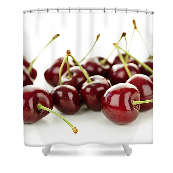 Fresh cherries on white Shower Curtain by Elena Elisseeva