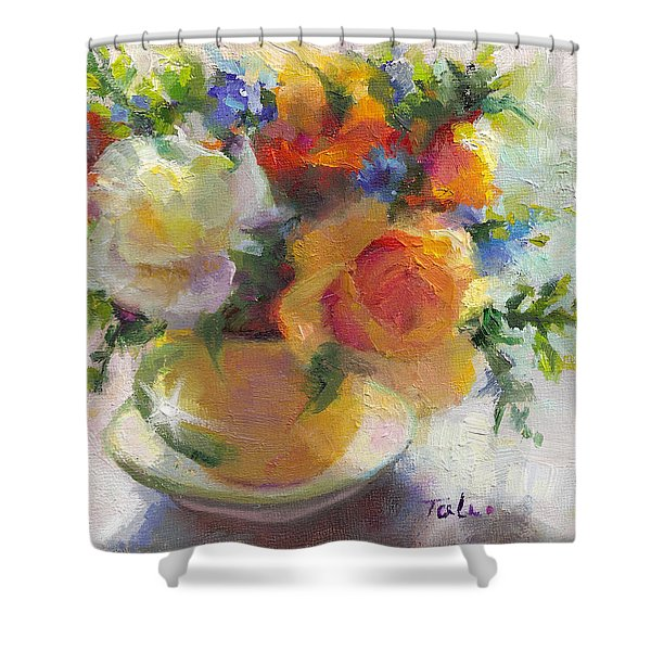Fresh - Roses in teacup Shower Curtain by Talya Johnson