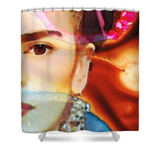 Frida Kahlo Art - Seeing Color Shower Curtain by Sharon Cummings