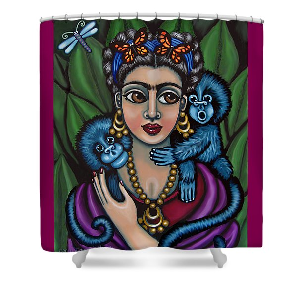 Frida's Monkeys Shower Curtain by Victoria De Almeida
