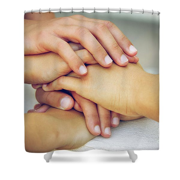 Friends Hands Shower Curtain by Carlos Caetano