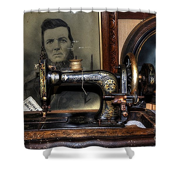 Frister And Rossmann - Old Sewing Machine Shower Curtain by Kaye Menner