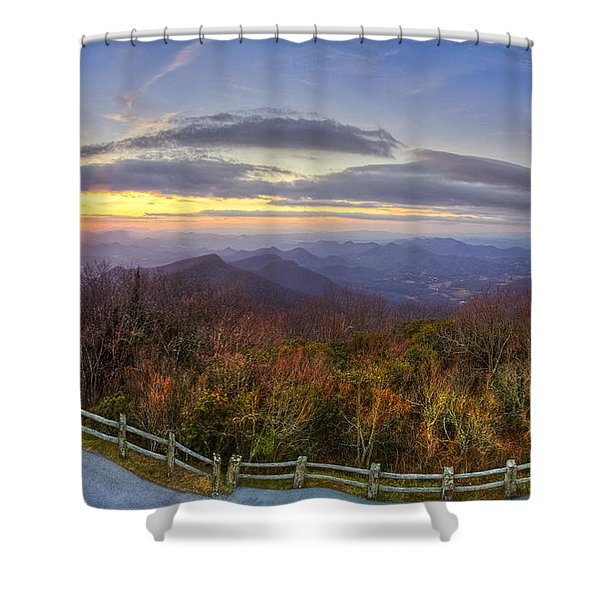 From the Top of Brasstown Bald Shower Curtain by Debra and Dave Vanderlaan