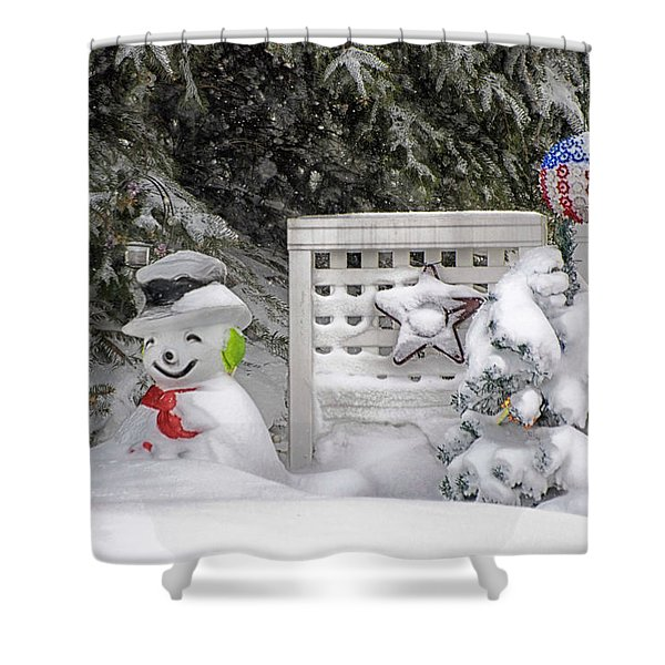 Frosty The Snow Man Shower Curtain by Thomas Woolworth