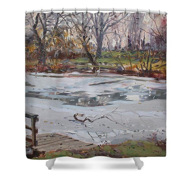 Frozen Pond Shower Curtain by Ylli Haruni