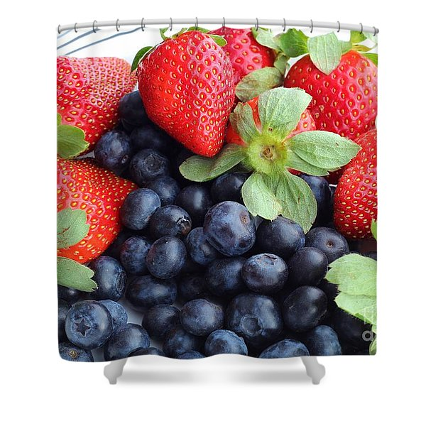 Fruit 2- Strawberries - Blueberries Shower Curtain by Barbara Griffin