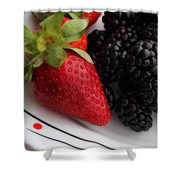 Fruit II - Strawberries - Blackberries Shower Curtain by Barbara Griffin