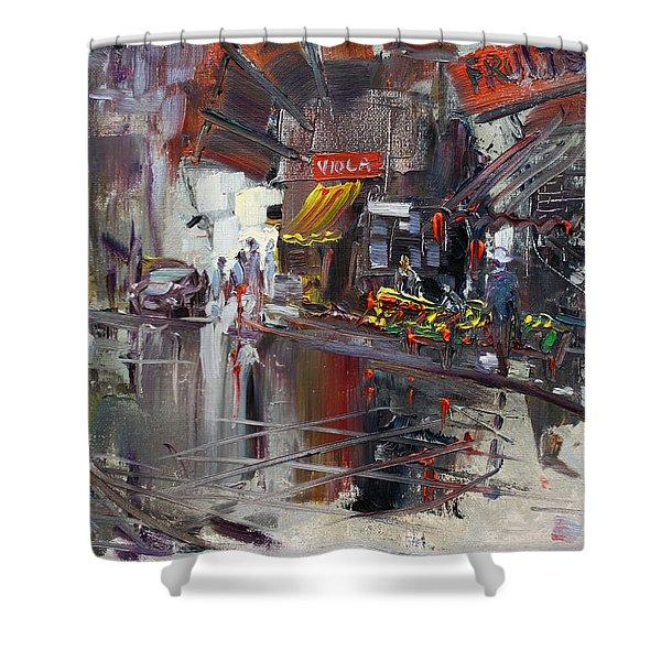 Fruit Market Shower Curtain by Ylli Haruni