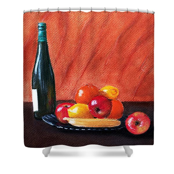Fruits and Wine Shower Curtain by Anastasiya Malakhova