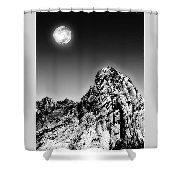 Full Moon Over The Suicide Rock Shower Curtain by Ben and Raisa Gertsberg