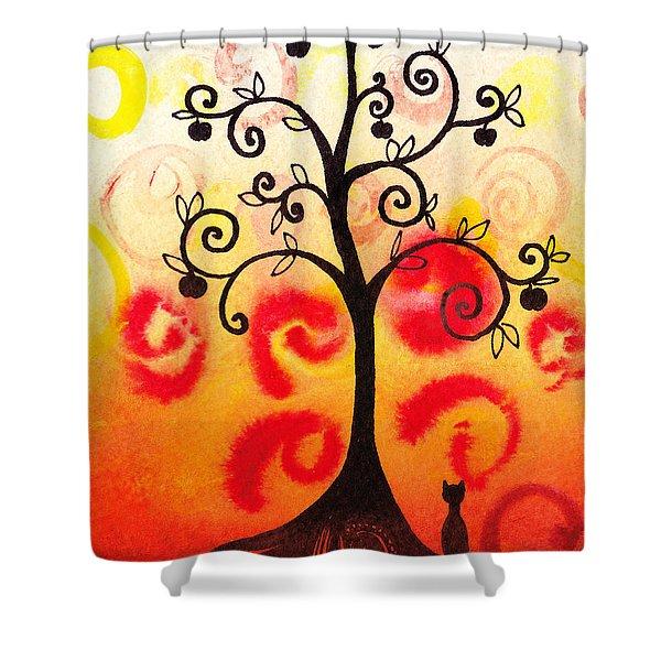 Fun Tree Of Life Impression Iv Shower Curtain by Irina Sztukowski