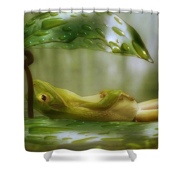 Funny Happy Frog Shower Curtain by Jack Zulli
