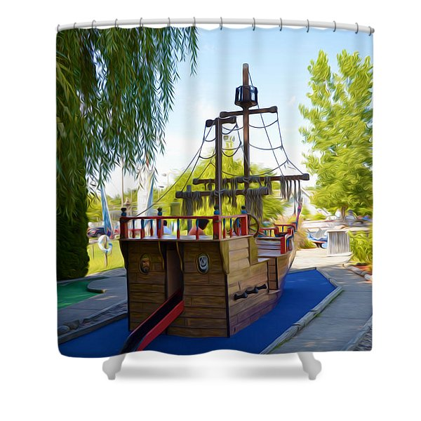 Funplex Funpark Boat 9 Shower Curtain by Lanjee Chee