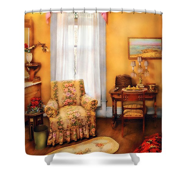 Furniture - Chair - Livingrom Retirement Shower Curtain by Mike Savad