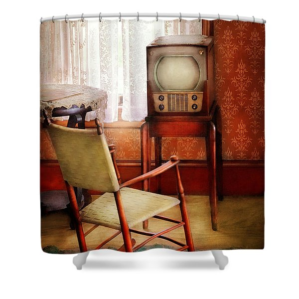 Furniture - Chair - The Invention of Television  Shower Curtain by Mike Savad