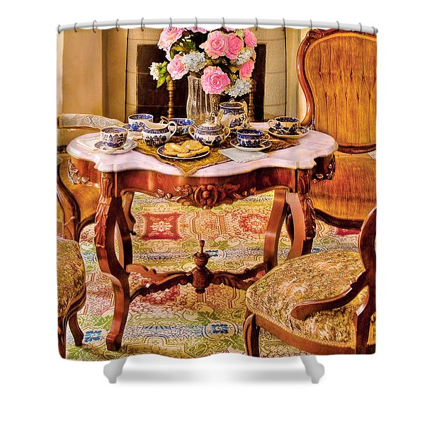 Furniture - Chair - The Tea Party Shower Curtain by Mike Savad