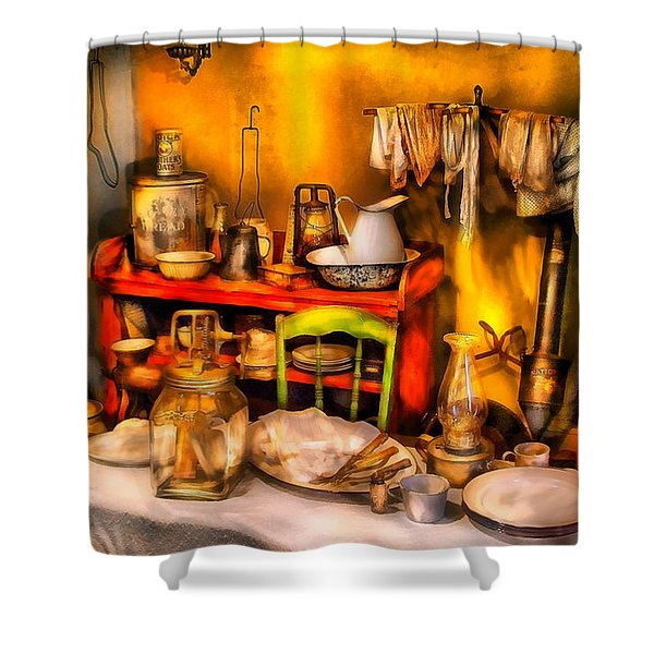 Furniture - Table - Our first apartment Shower Curtain by Mike Savad