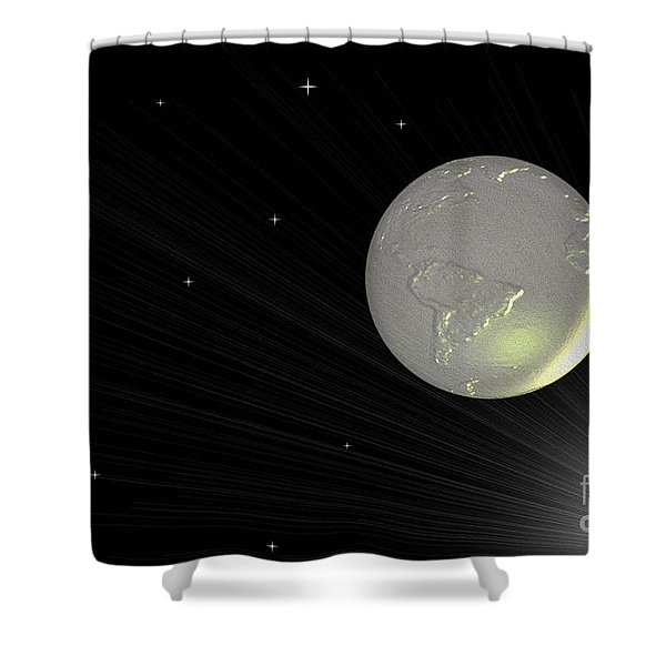 Future Earth 2 Shower Curtain by Cheryl Young