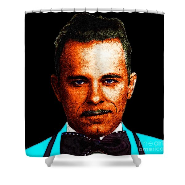 Gangman Style - John Dillinger 13225 - Black - Color Sketch Style Shower Curtain by Wingsdomain Art and Photography