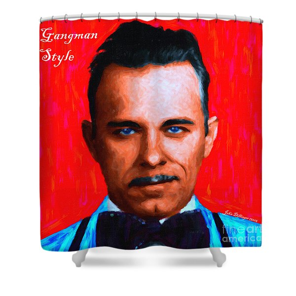 Gangman Style - John Dillinger 13225 - Red - Painterly - With Text Shower Curtain by Wingsdomain Art and Photography