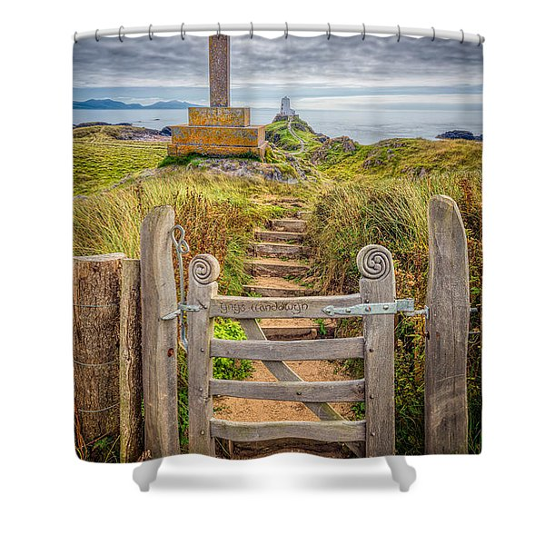 Gate to Holy Island  Shower Curtain by Adrian Evans