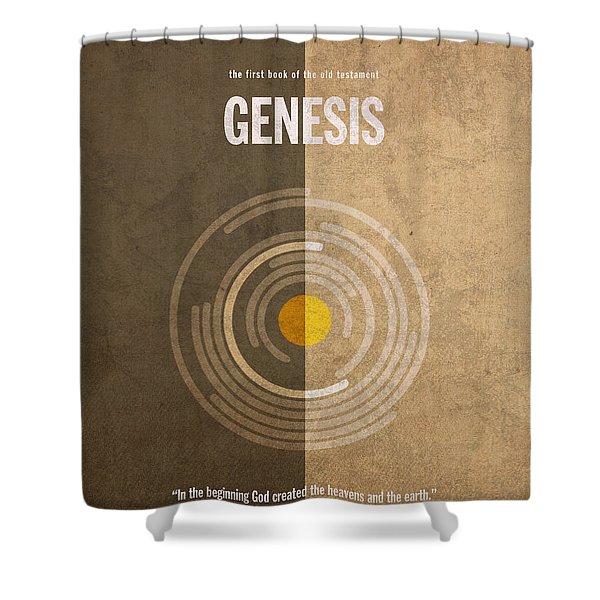Genesis Books of the Bible Series Old Testament Minimal Poster Art Number 1 Shower Curtain by Design Turnpike