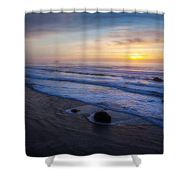 Gentle Evening Waves Shower Curtain by Mike Reid