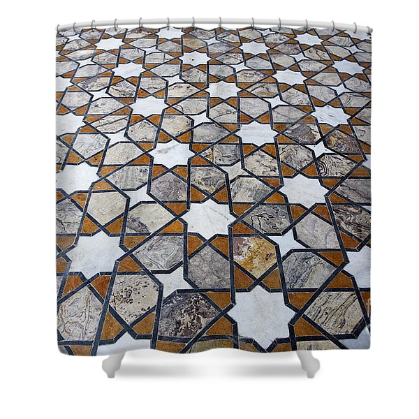 Geometric Marble Floor Design at Lahore Fort Shower Curtain by Robert Preston