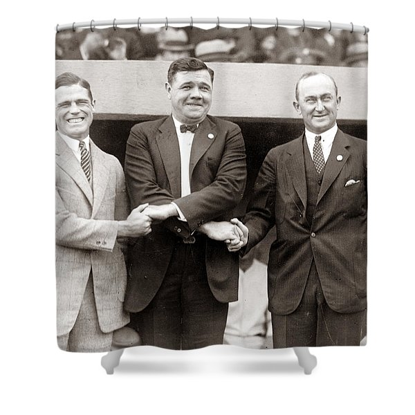 George Sisler Babe Ruth Ty Cobb Shower Curtain by Unknown